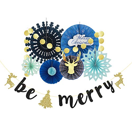 PinkBlume Christmas Fan Decorations Kit with Blue Paper Fan Flowers,Gold Circle Dots Garland and Be Merry Letter Garland Banner for Christmas,Holiday Party, Winter Wonderland Decor