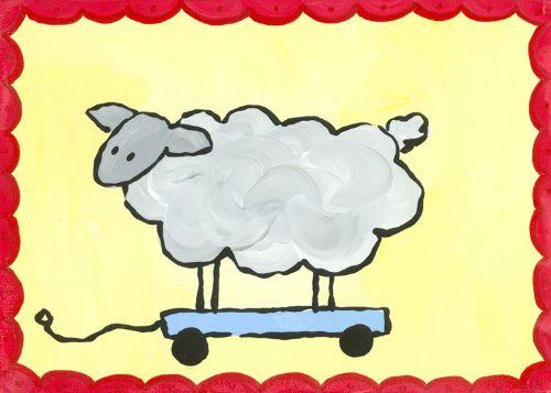 Oopsy Daisy Pull Along Sheep Stretched Canvas Art by Hillary James, 14 by 10-Inch ()