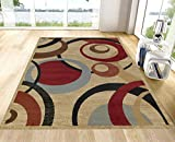 Royal Collection Beige Contemporary Abstract Circle Design...
