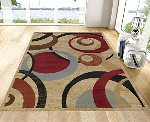 Royal Collection Beige Contemporary Abstract Circle Design Area Rug (5'3