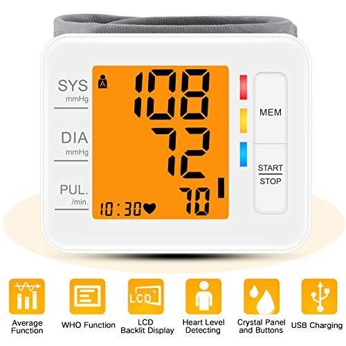 Wrist Blood Pressure Monitor, CARMAS Blood Pressure Monitor Wrist Cuff with USB Charging, Backlight LCD Display Digital Blood Pressure Monitor for Home Use Detects Irregular Heartbeat