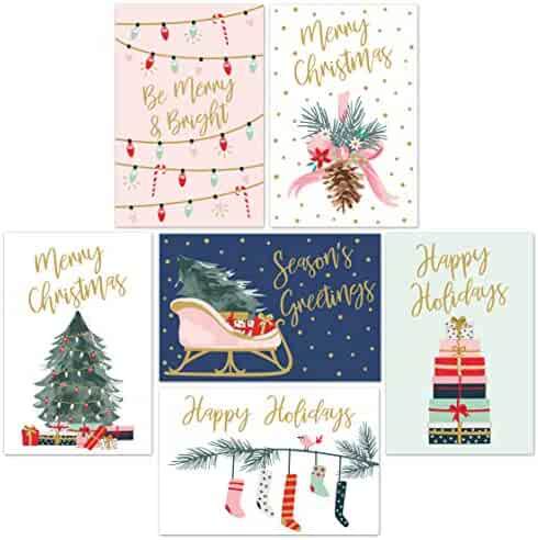 """Christmas Cards Set - 24 Gold Foil Holiday Cards with Red Envelopes – 6 Assorted Designs featuring Traditional Yuletide Images! Bulk Blank Greeting and New Years Cards - 4.25""""x5.75"""""""