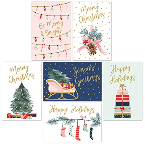 Christmas Cards Set - 24 Gold Foil Holiday Cards with Red Envelopes - 6 Assorted Designs featuring Traditional Yuletide Images! Bulk Blank Greeting and New Years Cards - 4.25