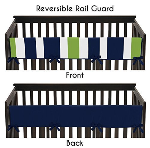 Sweet Jojo Designs Baby Crib Long Rail Guard Cover for Navy and Lime Green Stripe Print Bedding Collection