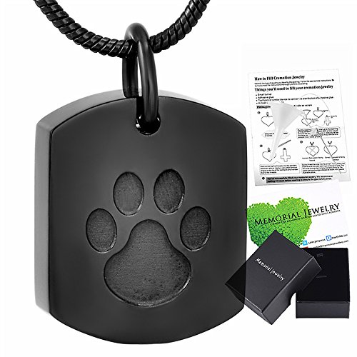Memorial Jewelry Paw Engraved Dog Tag Urn Pendant for Ash-Cremation Jewelry Keepsake Urn Necklace - Dog Tag Locket