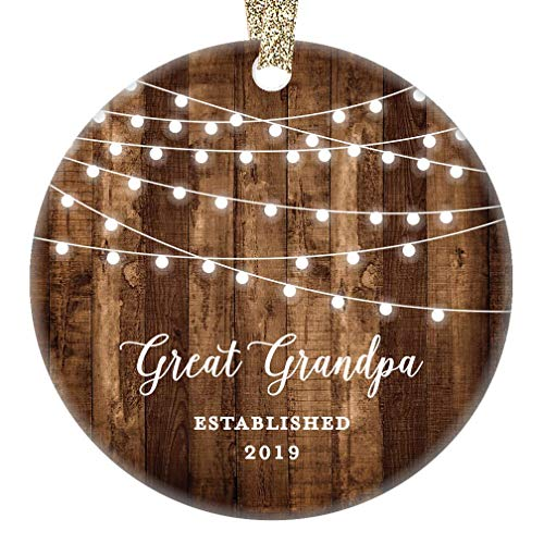 Great Grandfather Gifts Great Grandpa Christmas Ornament Established 2019 New Grandparents Pop-Pop Rustic Xmas Farmhouse Collectible Present 3