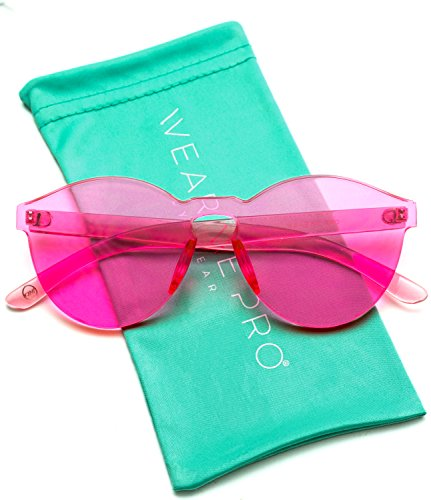 WearMe Pro - Colorful One Piece Transparent Round Super Retro Sunglasses