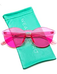 Colorful One Piece Transparent Round Super Retro Sunglasses