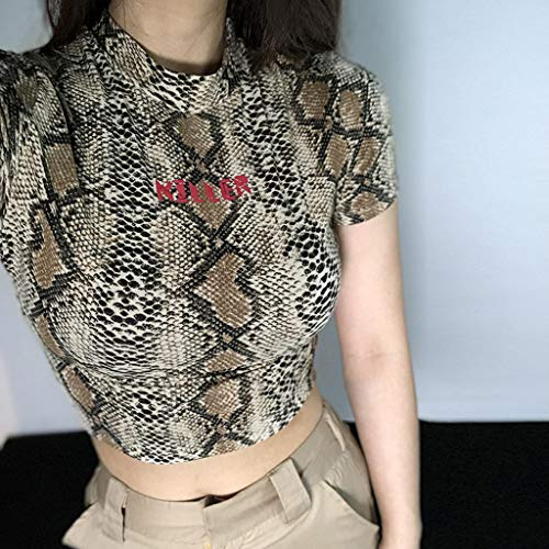 Malbaba Fashion Women O-Neck Short Sleeve Snake Striped Print Short Crop Top T-Shirt Brown by Malbaba Women Blouse (Image #3)