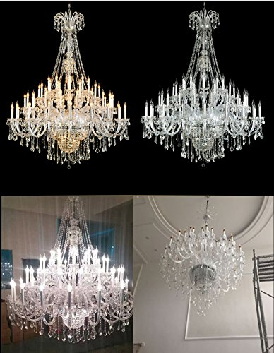 Poersi large foyer lighting fixtures large crystal chandelier extra large modern crystal chandelier lighting 65 lights transparent amazon com