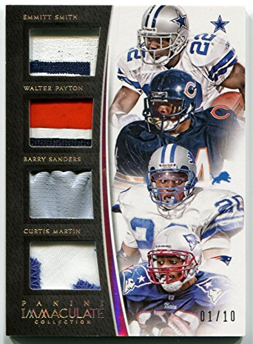 2015 Panini Immaculate Collection Gold Quad Jersey Patch WALTER PAYTON Emmitt Smith BARRY SANDERS Curtis Martin Quadruple Game Used Multi Color Patch Serial Numbered #1/10 HOF