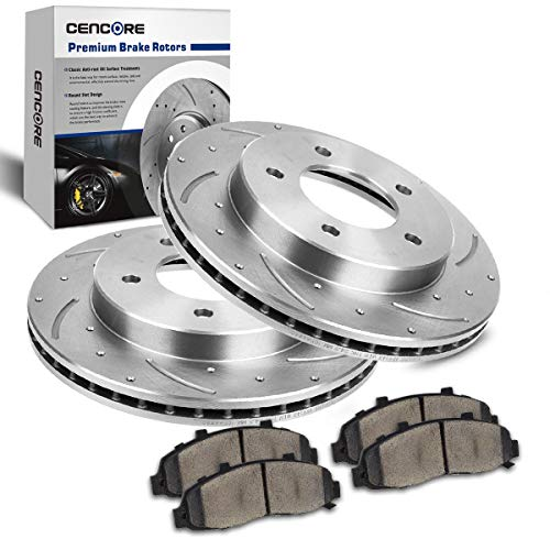 CENCORE Front Left & Right Non-Coated Anti-Rust Complete Set of Brake Disc Kit Cross Drilled & Slotted 2 Brake Rotors Plates & 4 Ceramic Brake Pads 5 Lugs Compatible with 2000-2004 Ford F150 4WD