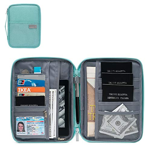 BABO Travel Wallet Passport bag Family Passport Holder Multi-purpose Document Organizer Zipper Case (Tiffany Blue, -