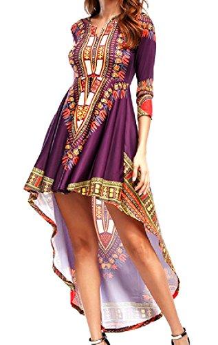 Coolred-femmes Sirène Africaine Dashiki Partie Élégante Robe Violette Irrégulière