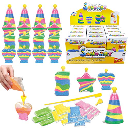 12 Pack Create Your Own Colored Sand Art Kits | Includes 12 Bottles, Funnels, Sticks, 48 Bags of Sand | Ideal for Kids Arts and Crafts, Schools, Birthday Party Favors Bulk (1 Dozen in Box) -