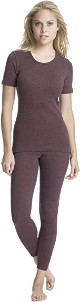 Leggings mit nat/ürlicher Baumwolle Damenbekleidung Bequeme Thermo-Unterw/äsche Gr/ö/ße: 42 schwarz Geringelt con-ta Thermo 3//4 Lange Hose