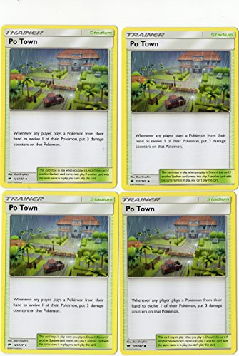 PO Town 121/147 - Sun Moon Burning Shadows - Trainer Card Set - x4 Stadium Card Lot (Playset)