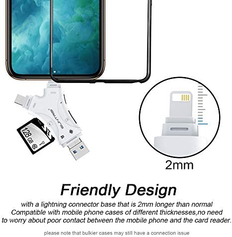 SD Card Reader for iPhone/ipad/Android/Mac/Computer/Camera,4 in1 Micro SD Card Reader Trail Camera Viewer, Portable Memory Card Reader SD Card Adapter Compatible with SD and TF Cards(White) 51usLL2gPZL