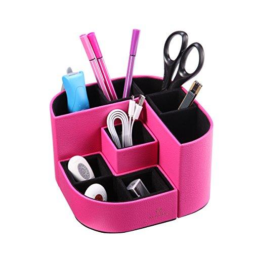 Vlando VPACK Magnet Desk Organizer - PU Leather Pencil Cup Holder - Office Supplies Desktop Stationery Gadgets Storage Box (Fuchsia Pink) (Desk Creative Student Interiors)
