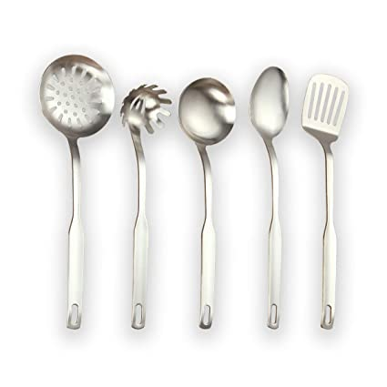 Berglander Utensilio de cocina de acero inoxidable, 5 piezas, acabado mate, sintonizador ranurado, cucharón, espumadera, cuchara para servir, juego de ...
