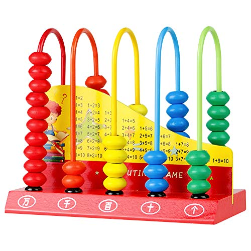 Wooden Abacus for Kids Math Learning Educational Toys Maths Counting Beads Toddlers Computing Rack Mathematical Fun Preschool Kindergarten Toy Birthday Gift for 2 3 4 5 6 Years Old Children Girls Boys
