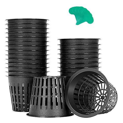 VIVOSUN 25 Pack 3 Inch Net Pots Heavy Duty Net Cups with 12 Pcs Plant Labels