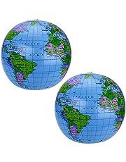 بانغدا 2 حزمة 40.64 سم النفخ الكرة الكرة الأرضية العالمية الشاطئ الكرة الأرضية لأكياس الحفلات، مادة كلوريد متعدد الفينيل