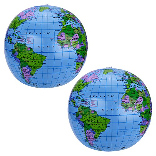 Pangda 2 Pack 16 Inches Inflatable Globe Blow up World Globe Beach Ball Globe for Party Bags, PVC Material ()