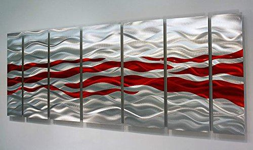 Red Metal Wall Decor: Modern Silver & Red Abstract Multi-Panel Metal Wall Art