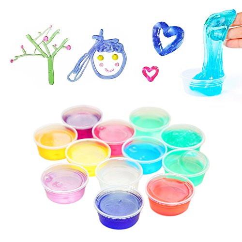 Homemade Halloween Science Experiments (Homemade Slime Kit   How to Make Fruit Tree Smiling Face,Blow Bubble with Jelly  Includes Putty slime, Containers, Straw, and Supplies for 2 Different Kinds of Mould, Neon Colored, by OffKits)