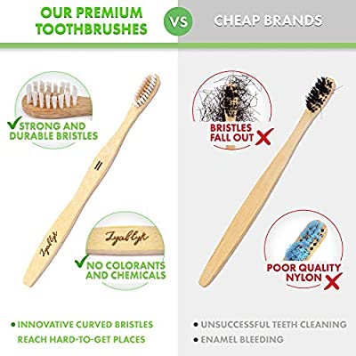 Bamboo Toothbrush Set With Travel Toothbrush Case | Pack of 3 Natural Bamboo Toothbrushes And Biodegradable Toothbrush Holder Organizer | Recycled Individual Packaging | Soft Bristle | BPA Free