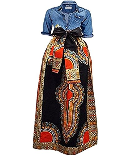 Shele Women's African Print Dashiki Long Maxi A Line High Waist Skirt Ball Gown(M-3XL) (XXXXL, 1-Black)