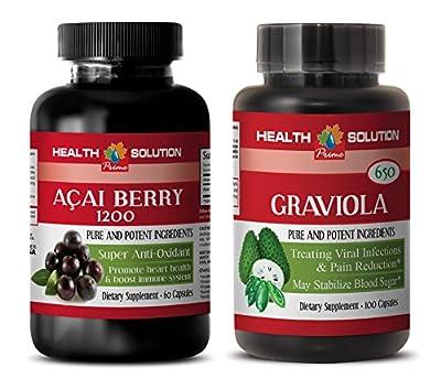 antiaging diet - ACAI BERRY - GRAVIOLA - graviola leaves powder - 2 Bottles Combo 120 Capsules