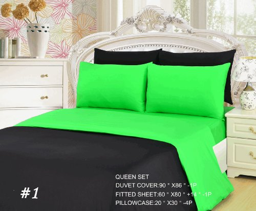 Tache 6 Piece 100% Cotton Lime Green Black Fitted Sheet and Reversible Duvet Cover Set, Queen