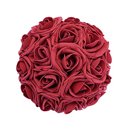 Febou Artificial Flowers, 50pcs Real Touch Artificial Foam Roses Decoration DIY for Wedding Bridesmaid Bridal Bouquets Centerpieces, Party Decoration, Home Display, Office Decor (Dark Red) (Red Flower Centerpiece)