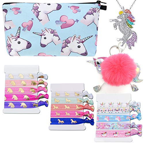 Unicorn Cosmetic Bag Makeup Unicorn Hair Ties Girls Necklace Unicorn Gifts Set for Girls Hair Band Party Favors Cute Unicorn Keychain