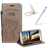 Strap Leather Case for Samsung Galaxy S7,Gray Wallet Flip Case for Samsung Galaxy S7,Herzzer Elegant Classic Solid Color Magnetic Closure Cute Fish Cat Printed Stand Shockproof Card Slots Folio PU Leather Back Case with Soft Silicone
