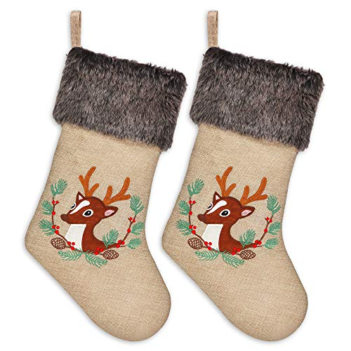 Ivenf Christmas Stockings, 2 Pack 18 Inch Large Embroidered Reindeer Burlap Stockings with Plush Faux Fur Cuff, for Family Holiday Xmas Party Decorations