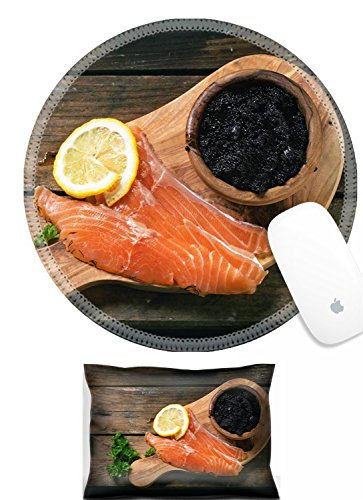 (Luxlady Mouse Wrist Rest and Round Mousepad Set, 2pc IMAGE: 34063724 Bowl of black caviar and pieces of salted salmon on olive wood board with vintage over old wooden table Top view)