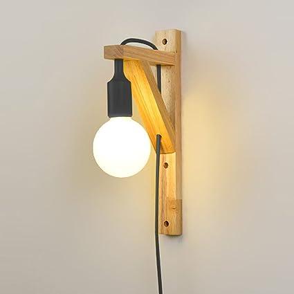 huge discount aa6af e4d87 Amazon.com: Neixy Nordic Wall Lamp Modern Minimalist Wooden ...