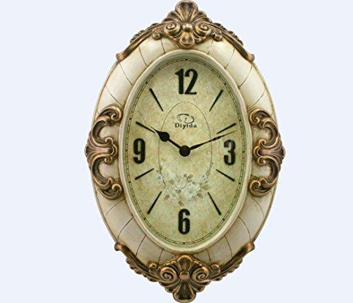 XIE Continental pastoral living room quiet creative antique resin clock quartz wall charts , antique white , 20 inches - Resin White Clock