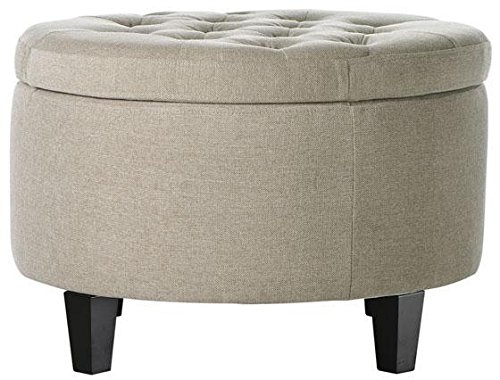 "Travette Tufted Storage Ottoman, 18""H x 26""W, TXTD NATURAL"