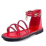 Girls Summer Open Toe Sandals Prewalker Pearl Anti-Slip Zipper up Ankle Strap Flat Sandal