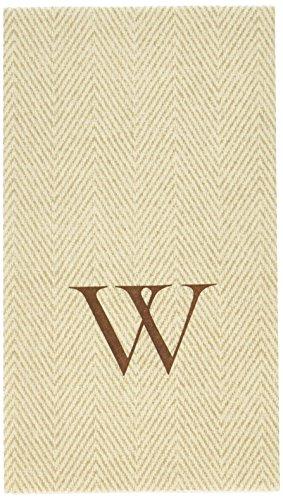 Entertaining with Caspari Jute Herringbone Paper Linen Guest Towels, Monogram Initial W, Pack of 24