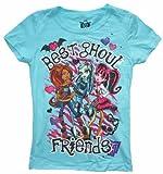 Monster High Best Ghoul Friends Girls T-Shirt (S (6/6X), Cancun Blue)