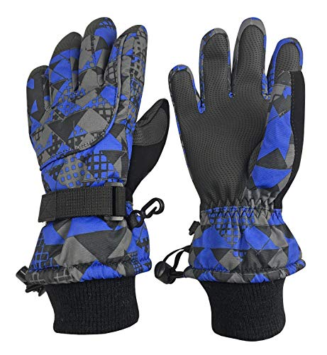 N'Ice Caps Kids Cold Weather Waterproof Camo Print Thinsulate Ski Gloves (Royal Geo, 3-4 Years) (Best Toddler Ski Gloves)
