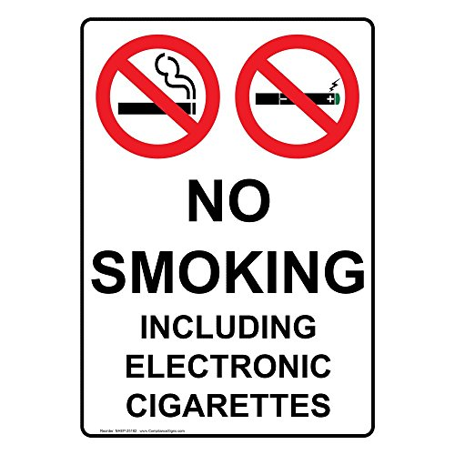 ComplianceSigns Vertical Vinyl No Smoking Including Electronic Cigarettes Labels, 5 x 3.50 in. with English Text and Symbols, White, pack of - Ban Chart