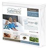 """SafeRest Hypoallergenic Waterproof Certified Low Profile Bed Bug Proof Box Spring Encasement 5.5"""" - Vinyl Free - Queen Size"""