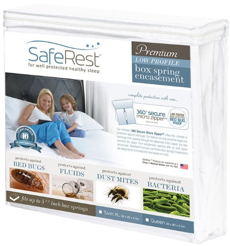 SafeRest Premium Low Profile Box Spring Encasement - Lab Tested Bed Bug Proof, Dust Mite Proof and Waterproof - Breathable, Noiseless and Vinyl Free - 5.5