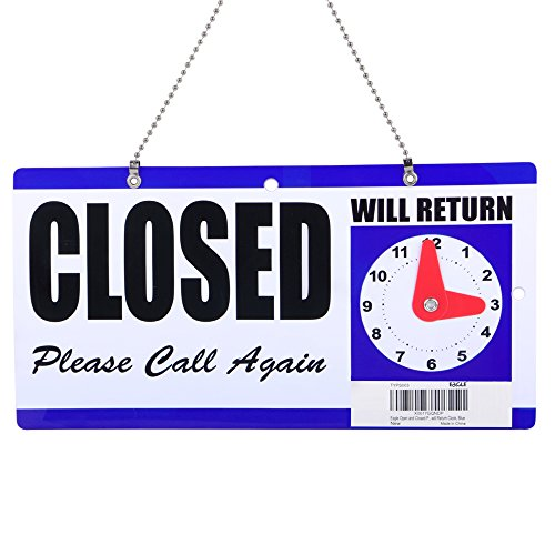 Eagle Open and Closed Plastic Hanging Sign with''Will Return'' Clock, 6 X 11.5 Inches by Eagle (Image #1)